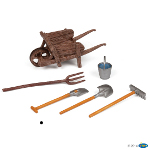 51140 - Wheelbarrow and tools (wheelbarrow, shovel, bucket, fork, spade and rack)