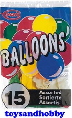 045015 - PACK OF 15 ASSORTED BALLOONS