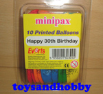 balloon30th - HAPPY 30TH BIRTHDAY PACK OF 10 PRINTED BALLOONS