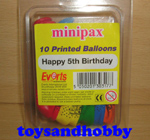 balloon5th - HAPPY 5TH BIRTHDAY PACK OF 10 PRINTED BALLOONS
